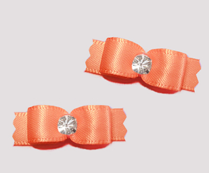 "#T9339 - 3/8"" Dog Bow - Satin, Pretty Peach with Rhinestone"