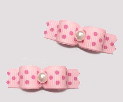"#T9343 - 3/8"" Dog Bow - Baby Sweet, Pink on Pink Dots"