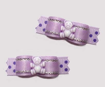 "#T9344- 3/8"" Dog Bow - Lavender Sparkle 'n Dots, Cute Teddy Bear"