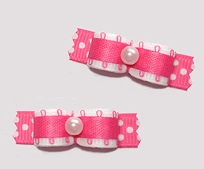 "#T9345 - 3/8"" Dog Bow - Cute White/Hot Pink w/Dots"