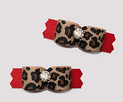 "#T9346 - 3/8"" Dog Bow - Leopard Print on Classic Red, Bling"