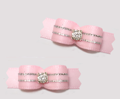 "#T9348 - 3/8"" Dog Bow - Precious Baby Pink w/a Touch of Silver"