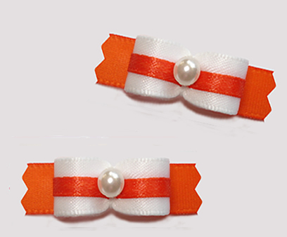 "#T9351 - 3/8"" Dog Bow - Classic White with Orange, Faux Pearl"