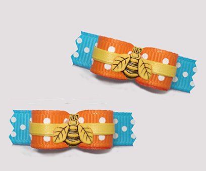 "#T9354 - 3/8"" Dog Bow - Cute Little Buzzy Bee, Orange/Blue"