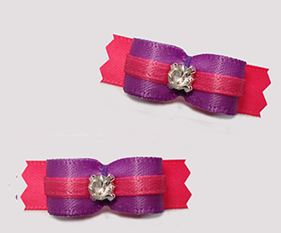 "#T9359 - 3/8"" Dog Bow - Pretty Purple on Pink, Rhinestone"