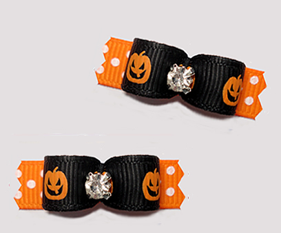 "#T9360 - 3/8"" Dog Bow - Happy Little Jack-o-Lanterns"