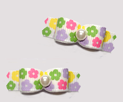 "#T9363 - 3/8"" Dog Bow - Sweet Petite Spring Daisies"