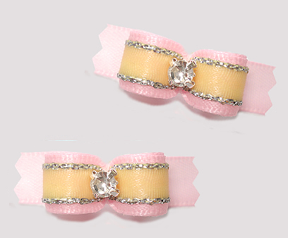 "#T9369- 3/8"" Dog Bow- Precious Baby Pink/Yellow, Touch of Silver"