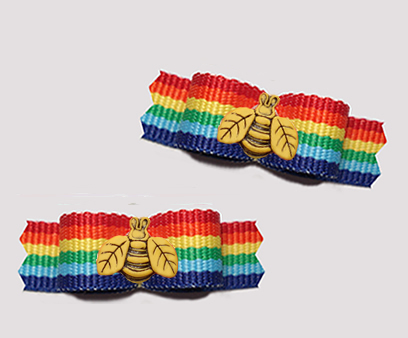 "#T9376 - 3/8"" Dog Bow - Colorful Rainbow Stripes, Busy Bee"