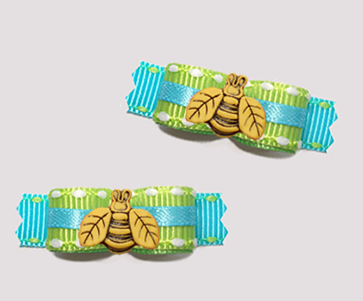 "#T9377 - 3/8"" Dog Bow- Summer Brights, Lime/Blue, Cute Busy Bee"