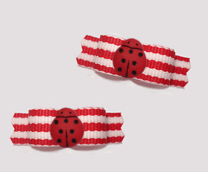 "#T9379 - 3/8"" Dog Bow - Summer Fresh Red/White Stripes, Ladybug"