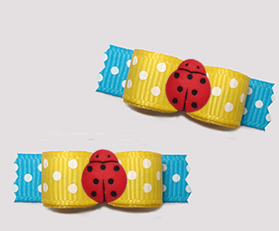 "#T9380 3/8"" Dog Bow- Delightful Dots, Sunny Yellow/Blue, Ladybug"