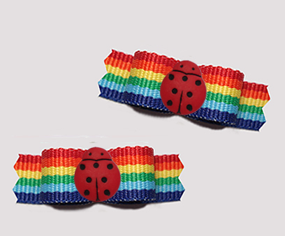 "#T9381 - 3/8"" Dog Bow - Colorful Rainbow Stripes, Little Ladybug"