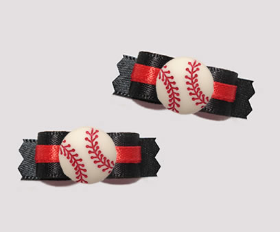 "#T9385 - 3/8"" Dog Bow - Sporty Baseball, Black w/Red Accent"