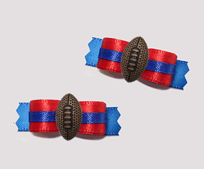 "#T9390 - 3/8"" Dog Bow - Team Spirit, Red/Blue, Football"