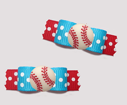 "#T9396 - 3/8"" Dog Bow - Sporty Baseball, Blue/Red w/White Dots"