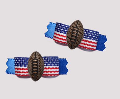 "#T9397 - 3/8"" Dog Bow - Patriotic Red/White/Blue, Football"