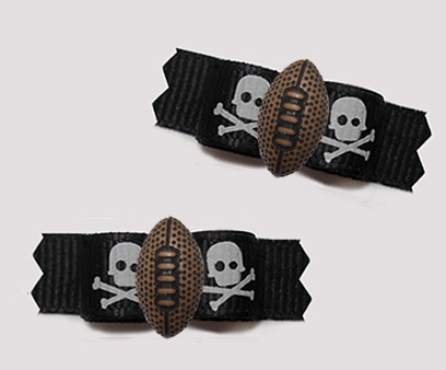 "#T9400 - 3/8"" Dog Bow - Pirates' Skull and Crossbones w/Football"