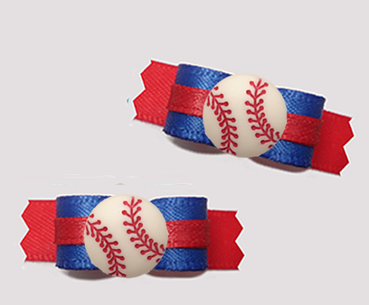 "#T9401 - 3/8"" Dog Bow - Sporty Baseball, Blue/Red"