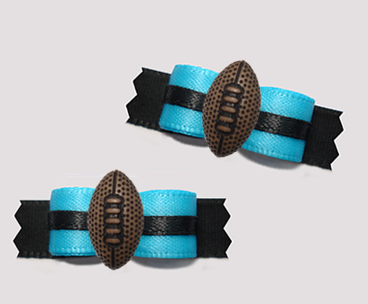 "#T9402 - 3/8"" Dog Bow - Team Spirit, Blue/Black, Football"