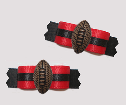"#T9404 - 3/8"" Dog Bow - Team Spirit, Red/Black, Football"