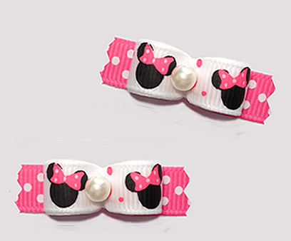 "#T9405 - 3/8"" Dog Bow - Cute Baby Minnie Mouse, Pink/White Dots"
