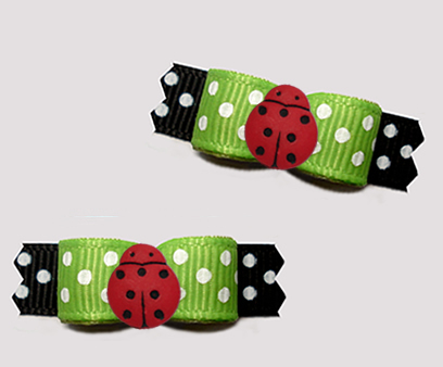"#T9407 - 3/8"" Dog Bow - Sweet Red Ladybug, Summer Green/Black"
