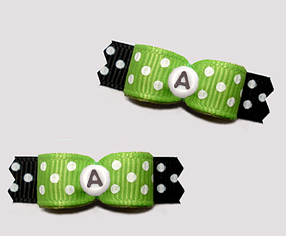 "#T9409 - 3/8"" Dog Bow - Fun Dots, Green/Black, Custom Letter"
