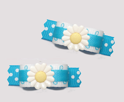"#T9413 - 3/8"" Dog Bow - Delightful Daisy Dots, Blue/White"