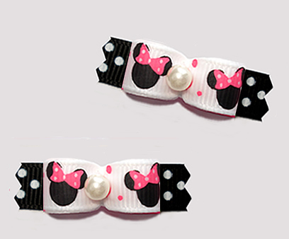 "#T9414 - 3/8"" Dog Bow - Cute Baby Minnie Mouse, Pink/White/Black"