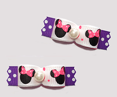 "#T9416 - 3/8"" Dog Bow- Cute Baby Minnie Mouse, Pink/White/Purple"