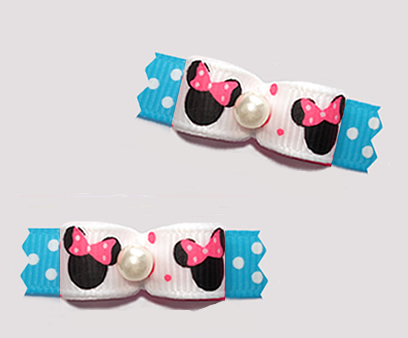 "#T9417 - 3/8"" Dog Bow - Cute Baby Minnie Mouse, Pink/White/Blue"