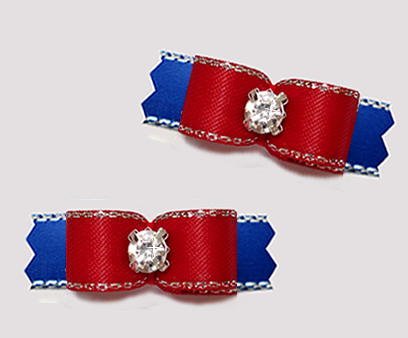 "#T9419- 3/8"" Dog Bow - Classic Red/Blue, Silver Edge, Rhinestone"