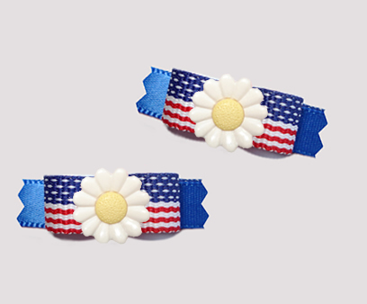 "#T9421 - 3/8"" Dog Bow - Patriotic Daisy, Stars & Stripes on Blue"