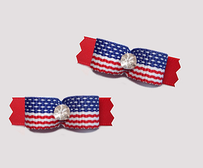 "#T9423 - 3/8"" Dog Bow - Stars & Stripes on Red, Rhinestone"