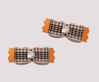 "#T9424 - 3/8"" Dog Bow - Designer Plaid on Orange, Rhinestone"