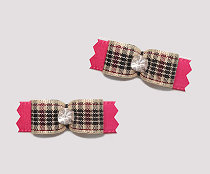 "#T9425 - 3/8"" Dog Bow - Designer Plaid on Pink, Rhinestone"