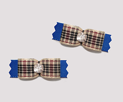"#T9426 - 3/8"" Dog Bow - Designer Plaid on Blue, Rhinestone"