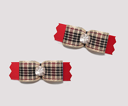 "#T9427 - 3/8"" Dog Bow - Designer Plaid on Red, Rhinestone"