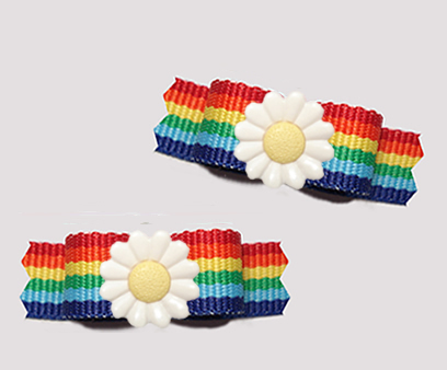 "#T9428 - 3/8"" Dog Bow - Bright Rainbow Stripes, Delightful Daisy"