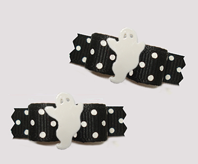 "#T9430- 3/8"" Dog Bow- BOOtiful Midnight Black/White Dots, Ghost"
