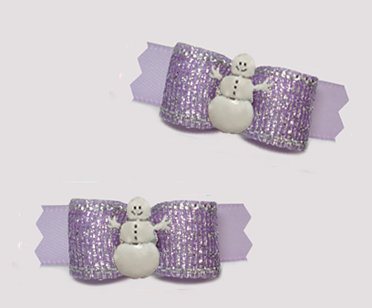 "#T9431- 3/8"" Dog Bow - Shimmer & Shine, Lovely Lavender, Snowman"