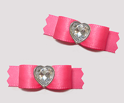 "#T9435 - 3/8"" Dog Bow - Perfect Pink Satin w/Bling Heart"