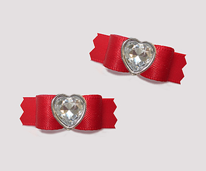"#T9436 - 3/8"" Dog Bow - Classic Red Satin w/Bling Heart"