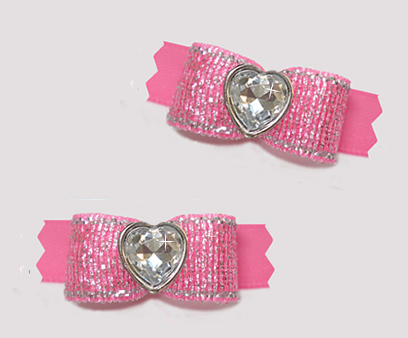 "#T9437- 3/8"" Dog Bow- Shimmer & Shine, Perfect Pink, Bling Heart"