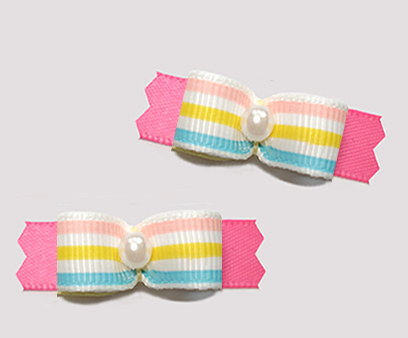 "#T9438 - 3/8"" Dog Bow - Step Into Spring, Pastel Stripes on Pink"