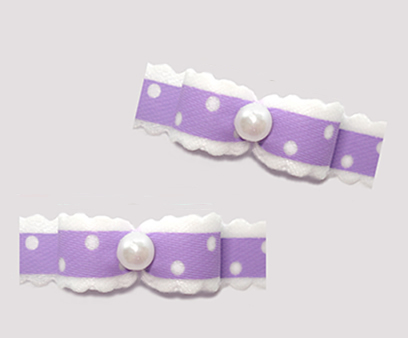 "#T9439 - 3/8"" Dog Bow - Country Cottage Ruffle, Lavender"