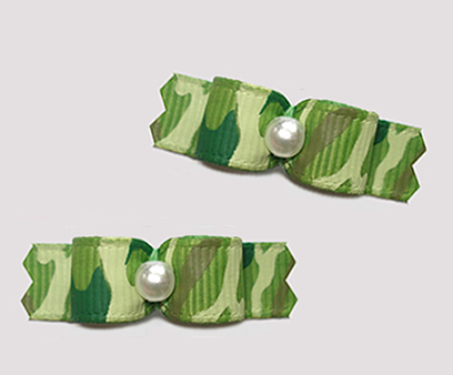 "#T9440 - 3/8"" Dog Bow - Army Green Camouflage Print"