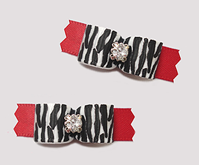 "#T9441 - 3/8"" Dog Bow - Classic Zebra Print on Red, Rhinestone"
