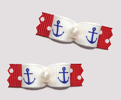 "#T9442 - 3/8"" Dog Bow - Cute Little Anchors, Red/White Dots"